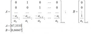 Построим матрицы А и В – матрицы постоянных коэффициентов, зависящих от конструктивных параметров объекта.