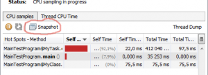java VisualVM CPU snapshot