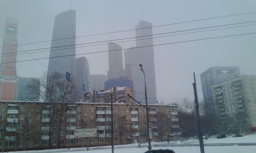 "Контраст. На заднем фоне деловой центр ""Москва-Сити"""