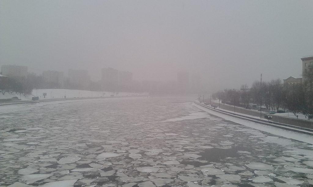 Москва. Туман. Лёд.