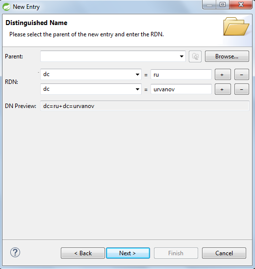 ApacheDS create domain entry