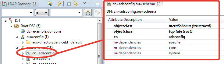 ApacheDS view element attributes in LDAP Browser