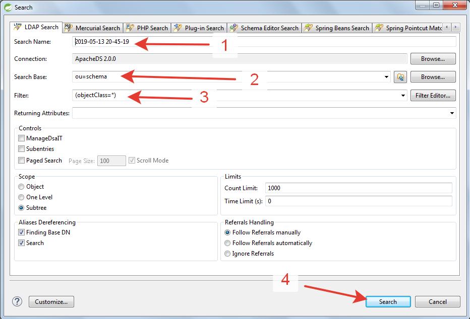 Apache Directory Studio New LDAP Search