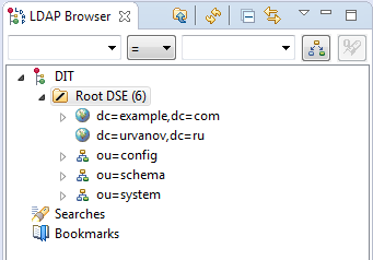 Apache DS LDAP Browser urvanov ru dc=urvanov,dc=ru record