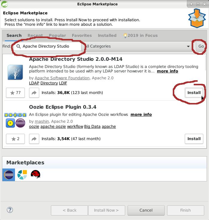 Eclipse Marketplace. Installing Apache Directory Studio.