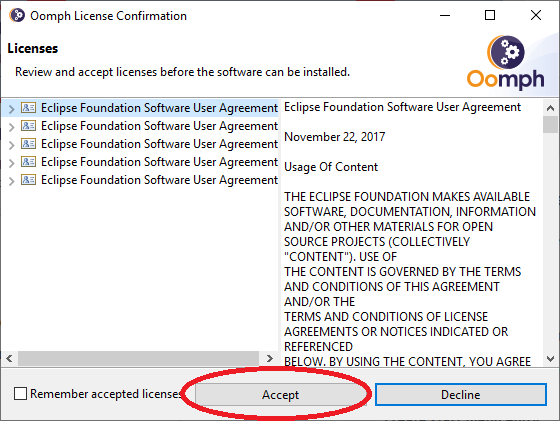 Eclipse Accept License