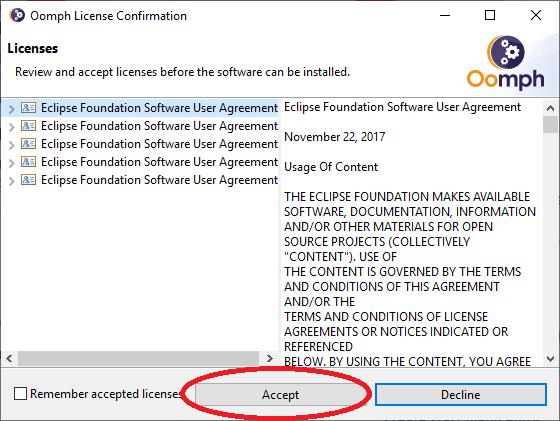 Eclipse Accept License