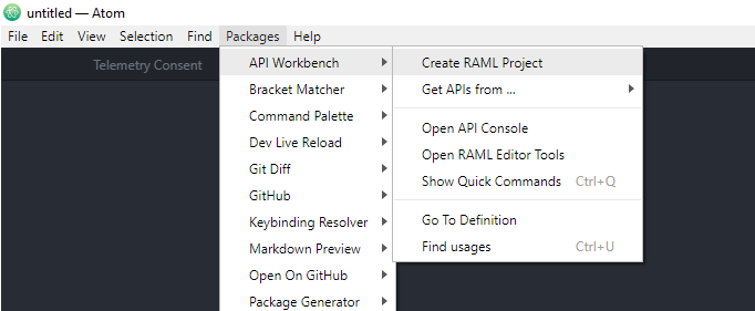 Atom / Packages/ API Workbench / Create RAML Project