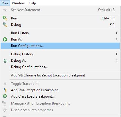 Eclipse Run Run Configurations...