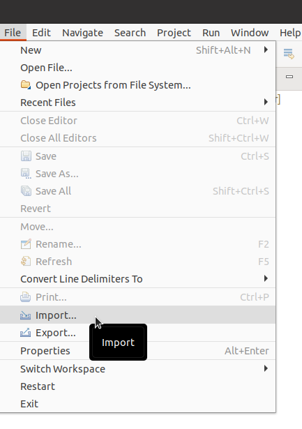 Eclipse File import